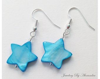 Star Shell Earrings - Light Blue/Aqua