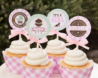 shower cupcake toppers girl baby shower couples baby shower bbq