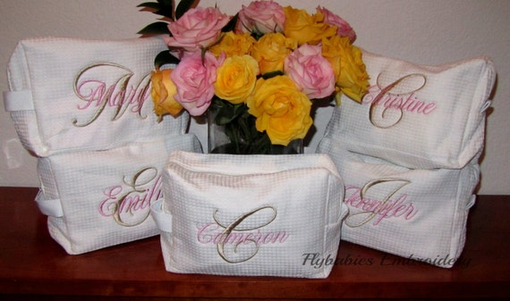 Set of 5 Personalized Cosmetic Bags ~ Personalized Bridal Party Gifts ~ Quick shipping