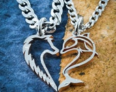 Wolf and Dolphin Heart Couples Necklaces, Interlocking Hand Cut Coin