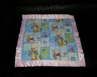 Winnie the Pooh Fleece Security Blanket 22x22 Personalized