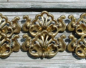 Large Vintage Brass Drawer Pulls Lot of 6 Decorative Cutouts Pierced Chippendale Colonial 3 SETS AVAILABLE