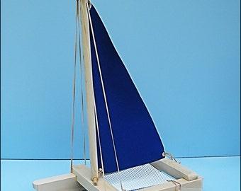 SAILBOAT BLUE, Toy Sailboat, Wood Toy Boat, Pool Toy, Wooden Toy, Heirloom Toy, Catamaran, Toy Boat, Boat, Wooden Boat, Wood Sailboat,