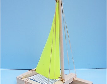 SAILBOAT YELLOW, Toy Sailboat, Wood Toy Boat, Pool Toy, Wooden Toy, Heirloom Toy, Catamaran, Sailboat, Wood Boat, Wooden Sailboat