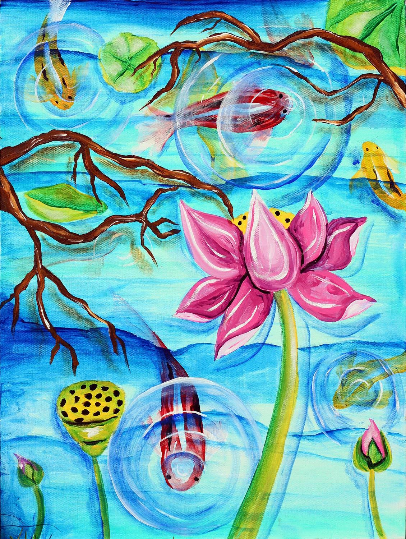 Koi art koi painting koi pond zen lotus lotus by tarasarthouse for Koi fish pond lotus