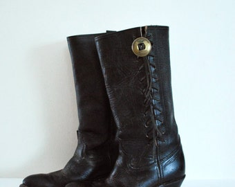 Harley Davidson Womens Vintage Double HH Side Concho Lace Up Cowgirl Boots 9