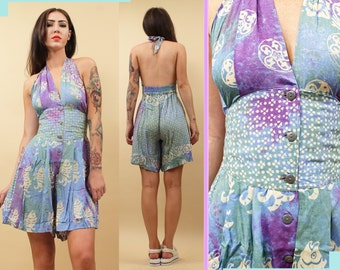 80s 90s Vtg Deadstock PASTEL Tie Dye BATIK Romper Shorts Outfit / Halter Top Beach Playsuit / Sea Punk Soft Grunge Boho Festival Tropical OS