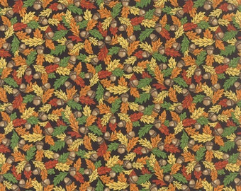 FOREST FANCY small multicolor leaves and acorns on black cotton print by the 1/2 yard Moda fabric FALL 19713-12 Deb Strain
