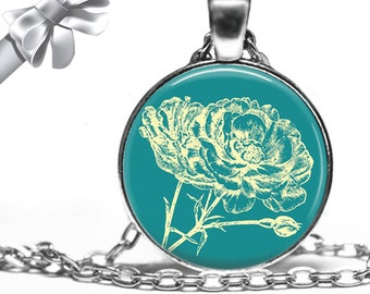 Teal and Ivory Floral Stamp Necklace Pendant - Choose Size