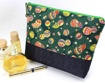 Large Cosmetic Pouch, Handmade Travel Pouch,Unique Gift Ideas,Padded Cosmetic Bags Japanese Kimono Cotton Fabric Mari-balls Green