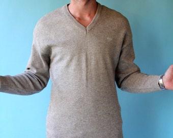 Men's Retro V-Neck Wool Sweater Cafe au lait Large size 44
