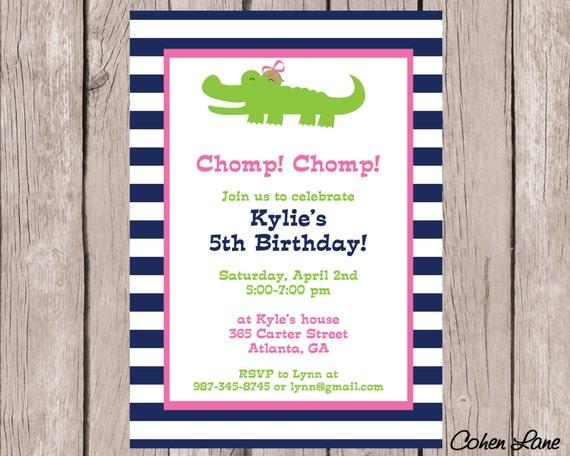 Printable alligator birthday invitation alligator baby shower il570xn filmwisefo