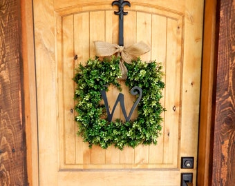 Boxwood Wreath-Summer Wreath-Fall Door Wreath-Monogram Wreath-BOXWOOD Wreaths-Housewarming Gift-Wreaths-YearRound Wreath-Wedding Gifts
