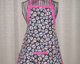 Tumbling Day of the Dead Heads Child Apron multi color happy smiling tumbling day of the dead heads
