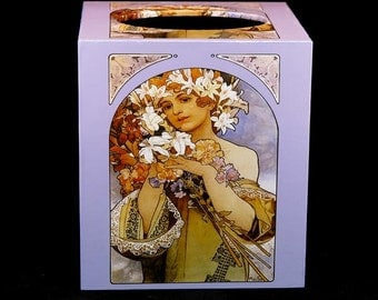 Tissue Box Cover Art Nouveau Woman with Flowers