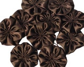 Fabric flowers, dark brown, fabric roses, 10pcs, DIY, craft set, applique