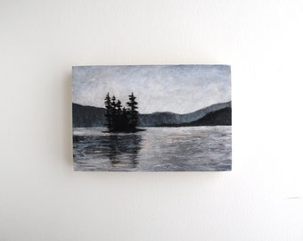 Black and White Adirondack Lake Painting - 4 x 6