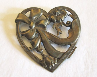 Brass Heart and Bow Sash Pin Art Nouveau Style 1930's Brooch/Sash Pin