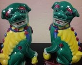 GUARDIAN FOO DOG Famille Verte Foo Lion Pair Chinese Asian Decor
