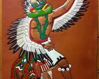 NATIVE AMERICAN KACHINA Dancer Tooled Leather Wall Hanging Decor Hand Crafted Painted Dancer