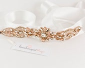 Swarovski Bridal Sash ROSE GOLD Wedding Sash Wedding Belt Rhinestone Sash Crystal Sash Bridal Accessories Wedding Accessories