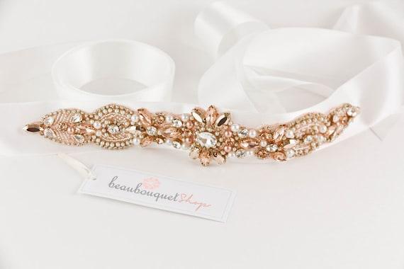 Swarovski Bridal Sash Rose Gold Wedding Sash Wedding Belt