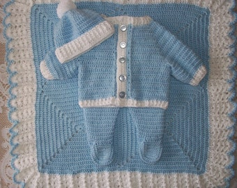 Crochet Baby Boy Sweater Set With Leggings and Blanket Perfect For Winter Baby Shower Gift or Warm Take Me Home outfit
