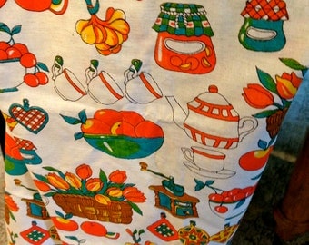 6 Fabric Napkins Vintage Table cloth set MId century modern kitchen 54 x 50 inch