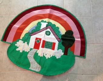 Wall Banner Rainbow Sunshine house  Scene bright vintage machine applique  vintage