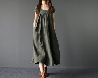 Summer Loose Fitting Long Maxi Dress Women Long Dress in Army Green