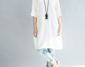 Women oversize shirt cotton Loose Fitting shirt in white / dark blue
