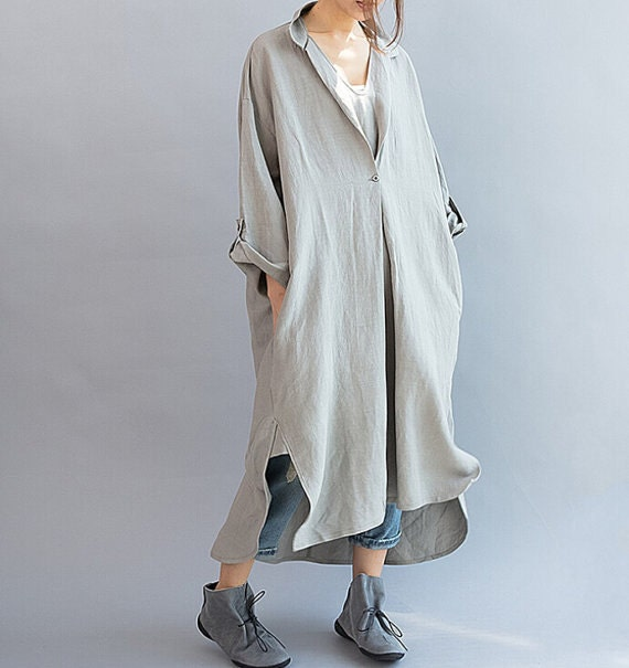 Women Loose Fitting linen Long dress/ Cotton Asymmetric gray