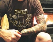 Craft Brew - Unisex Brown T Shirt - Hand Screen Printed