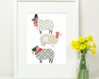 Welsh Sheep Dafad Defaid Print. Royal Welsh Agricultural Show. Wales. Welsh Blanket Tapestry Pattern. Welsh Lady Hat. Daffodils. Cymru. RWAS