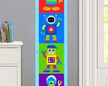Kids Personalized Robots Canvas Growth Chart, Boys Bedroom Decor, High Quality Canvas Growth Chart, Nursery Wall Decor, Very Cute Wall Art