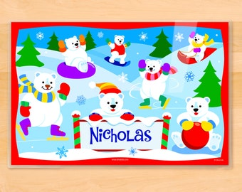 Olive Kids Personalized Polar Bear Placemat, Kids Placemat, Winter Placemat, Holiday Placemat, Laminated Placemat