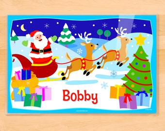 Olive Kids Personalized Christmas Placemat, Kids Placemat, Santa's Reindeer Placemat, Holiday Placemat, Laminated Placemat