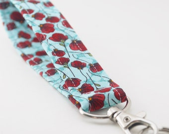 Snap Keychain, Key Fob, Wristlet Lanyard, Flowers, Red Poppies