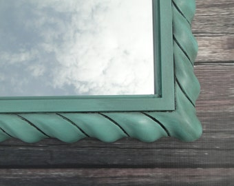 Vintage Mirror Wall Mirror Aqua Teal Turquoise Ornate Frame Hollywood Regency Paris Apartment French Gothic Modern Vintage