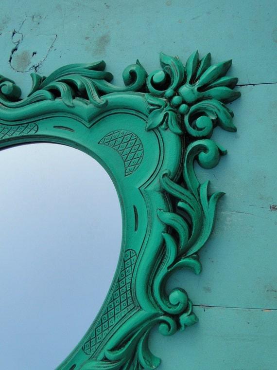 Large ornate vintage mirror teal jade green wall mirror ornate for Teal framed mirror