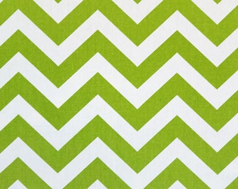 Green Chevron Pillow in Chartreuse and White Zig Zag 16 18 20 22 24 26 inch Removeable Cover