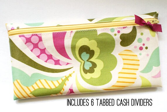 Cash envelope system budget wallet with 6 tabbed dividers | cream, pink, green, olive, yellow designer laminated cotton fabric