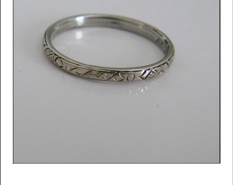 Antique Art Deco Dated 6.14.28 18k Engraved Wedding Band