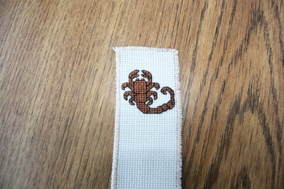Scorpion cross stitch bookmark