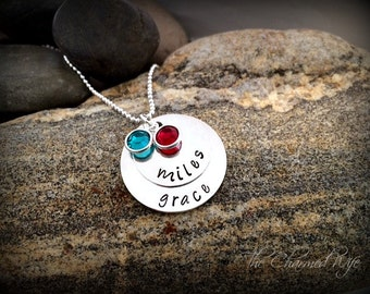 Hand Stamped Mommy Necklace - Birth Stone Jewelry - Personalized Necklace
