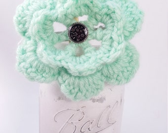 Mint Green Crocheted Flower Clip FREE SHIP