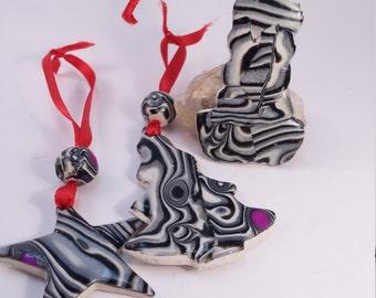 Handmade Clay Ornament set You get all 3