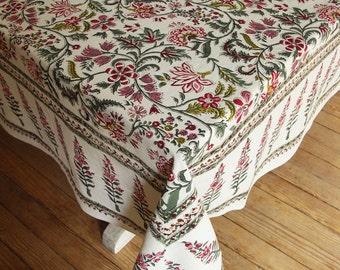 "Hand Block Printed Tablecloth - Pompador Ruby - 70"" x 108"""