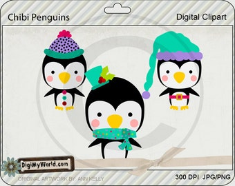 Chibi trio penguins, Winter, Christmas, adorable Clipart and graphics