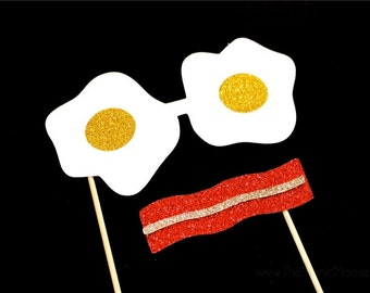 Photo Booth Props ~ Breakfast Disguise ~ Set of 2 Props ~ Bacon Mustache and Egg Glasses - Breakfast Collection